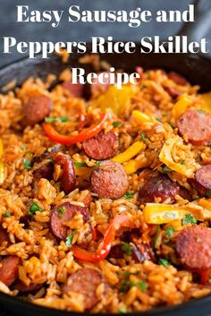 sausage recipes Easy Italian Sausage And Peppers With Rice Skillet Recipe This easy one-skillet recipe combines Italian sasage and peppers with sweet Vidalia onions and rice to make a qick dinner thats ready in 30 mintes! Chicken Sausage Recipes, Sausage Recipes For Dinner, Smoked Sausage Recipes, Pork Recipes, Cooking Recipes, Healthy Sausage Recipes, Noodle Recipes, Recipes With Italian Sausage And Rice, Recipes With Tomato Paste