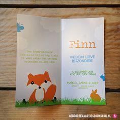 Geboortekaartje - Met onze ontwerptool kun je ook de binnenkant  bewerken! www.geboortekaartjesdrukkerij.nl #geboortekaartjes, #geboorte, #kaartjes, #zelfontwerpen, #ontwerpen, #uniek, #jongen, #zwanger, #baby, # vosje