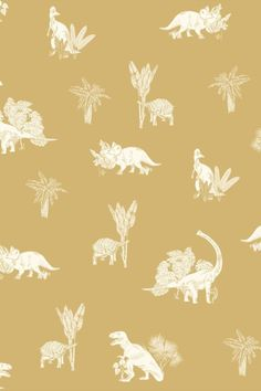 Curious dinosaurs are seen in a playful and modern design amongst luscious trees and plants; set against a plain and bold background. Orange Wallpaper, Animal Wallpaper, Jurassic World Wallpaper, Pattern Matching, Dinosaurs, True Colors, Free Pattern, Modern Design, Past
