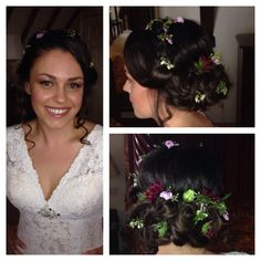 Bridal hair and makeup by Stephanie in Surrey and West Sussex.  Bridal updo with fresh flowers.  Ghyll Manor Bride.  www.stephaniedorelli.com