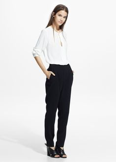 a1fad24b18ceeb Satin appliqué blouse Mango Clothing
