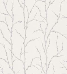 Papel pintado árboles estilo nórdico beige claro fondo blanco perla - 1007422