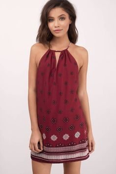 "Search ""Above It All Wine Print Shift Dress"" on Tobi.com! halter tribal handkerchief bandana keyhole short mini shift loose comfy beach coverup #ShopTobi #fashion shop buy cheap inexpensive ideas chic fashion style fashionable stylish comfy simple chic essential capsule Basic outfit simple easy trendy ideas for women teens cute college fall winter summer spring outfit outfits california LA"