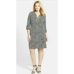 Michael Kors Print Chain Lace-Up Shirt Dress