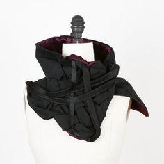 Black Multi Textured Oversized Scarf Scarflette Cowl by Felinus, $110.00