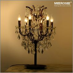 Wrought Iron 6 Lights Crystal Table Lamps Antique Retro Crystal Table Light Lighting Living Room Bedroom Decorative Light TD001