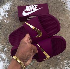 fa5f556e5b37 Nike Benassi Swoosh - Golden Check Slides Black - Size up one for men -  Down one for women