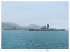 This is a rarity! A picture of the two of the largest! IJN Yamato, IJN Musashi 1943