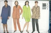 An unused original ca. 1997 Butterick Pattern 5211.  Loose-fitting, unlined, below hip jacket has mock bands.  Pullover, loose-fitting tunic has collar.  Both have dropped shoulders, forward shoulder seams, side slits and long sleeves with stitched hems.  Straight skirt, mid-knee or tapered pants have front waistband/pleats and back zipper.  A: back vent.  Purchased top.
