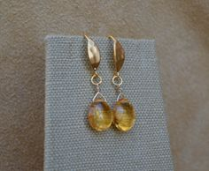 Citrine Drop Hammered Gold Earrings  by macdesignsgallery on Etsy, $123.00