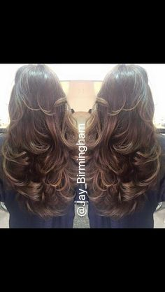 Long caramel and brown hair. Wavy Blow dry. By Jamie Birmingham at James Bushell hairdressers Birmingham city centre.