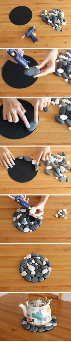 Best Country Crafts For The Home - Pebble Coaster - Cool and Easy DIY Craft Projects for Home Decor Dollar Store Gifts Furniture and Kitchen Accessories - Creative Wall Art Ideas Rustic and Farmhouse Looks Shabby Chic and Vintage Decor To Make and Sell Diy Craft Projects, Easy Diy Crafts, Crafts To Sell, Creative Crafts, Art Crafts, Creative Ideas, Budget Crafts, Sell Diy, Rock Crafts