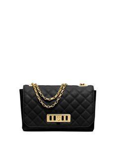 Michael Kors Vivian Quilted Leather Shoulder Bag, Black