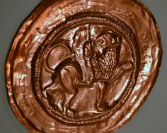 Griffin Disc  Hand Copper Embossed Plate by BelleAeva on Etsy, $185.00