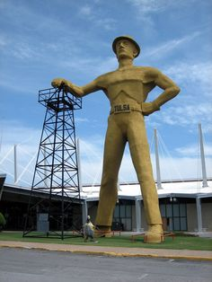 Tulsa, Oklahoma.  Golden Driller outside the Quicktrip Center.  Chili Bowl Nationals held here every January!!  Fun!!