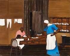 Horace Pippin, Supper Time, c. 1940. Oil on burnt-wood panel, 12 x 15″