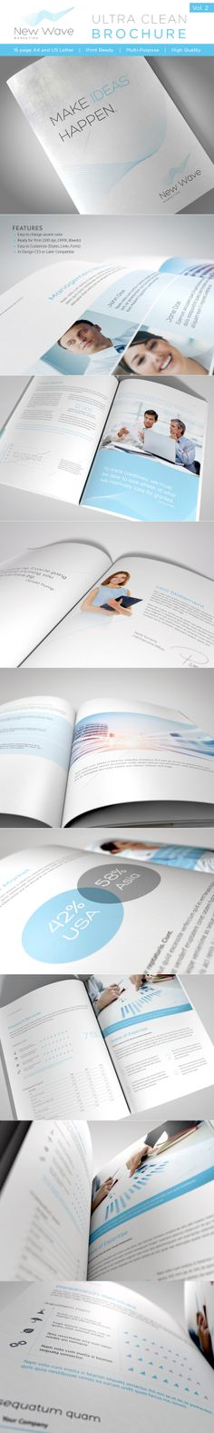 This is a 16 page professional In-Design brochure perfect for corporate business that needs clean, professional, modern brochure template design.Easy to edit, you can change blue accent color throughout the whole document at once, paragraph and characte… Brochure Examples, Design Brochure, Company Brochure, Indesign Templates, Print Templates, Brochure Template, Print Design, Graphic Design, Print Print
