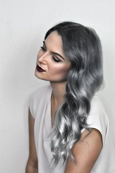 Silver Ombre Hair Dye Tutorial with oVertone Check out this tutorial to learn how to get that perfect silver ombre hair at home with oVertone! It's a DIY ombre made easy. LOVE this hair color! Silver Ombre Hair Dye Tutorial with oVertone Silver Ombre Hair, Dyed Hair Ombre, Dyed Hair Blue, Blond Ombre, Brown Ombre Hair, Grey Hair, Blonde Brunette, Hair Color Streaks, Ombre Hair Color