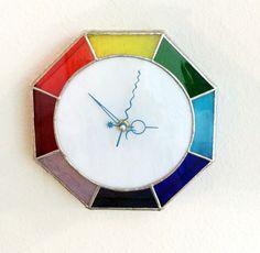 Reloj de pared, reloj de pared de vidrio de color de arco iris, colores vidrio reloj, relojes personalizados, arte de pared de cristal, reloj de pared única,