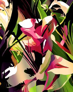 Contemporary Art  Abstract  Flower 5 pink tan by TulipeStudio, $15.00