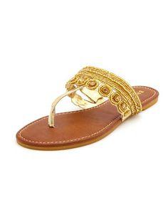 Jeweled Metallic Flat Sandal: Charlotte Russe