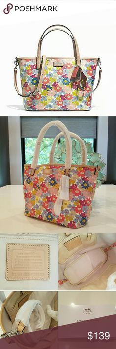 """Adorable COACH Small Metro Floral Tote NWT! Brand new with tag & in original packaging Coach Tote in beautiful floral print! Detachable crossbody or shoulder strap plus 6"""" drop handles. Clip closure at top. 13.75"""" x 8.75"""" x 4.25"""". Just stunning! Coach No. F29962. Coach Bags"""