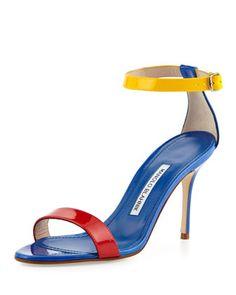 Chaos Colorblock Patent Ankle-Strap Sandal, Blue by Manolo Blahnik at Bergdorf Goodman.