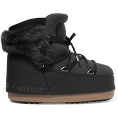 Moon Boot Buzz faux fur-trimmed neoprene and faux leather snow boots (17,495 INR) ❤ liked on Polyvore featuring shoes, boots, ski boots, vegan boots, moon boots, vegan snow boots and black laced boots