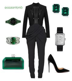 """Power Suite"" by cazantonio on Polyvore featuring Balmain, Yves Saint Laurent, Judith Leiber, Christian Louboutin, CARAT* London and Chanel"