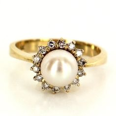 Estate 14 Karat Yellow Gold Cultured Pearl Cocktail Ring Fine Jewelry Pre-Owned $269