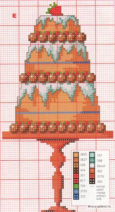 cherry torte Cupcake Cross Stitch, Simple Cross Stitch, Loom Patterns, Cross Stitch Patterns, Cross Stitch Kitchen, Diy Embroidery, Loom Beading, Cross Stitching, Needlepoint