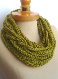 Infinity Scarf Crochet Necklace Olive color by IskaCreations, $15.00