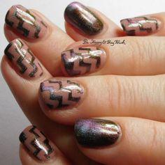 Tonic Polish Xtravaganza magnetic nail polish, 6 Harts Heart of the Milky Way zig zag nail art full manicure | Be Happy And Buy Polish