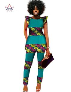 Dmart7deal Dashiki Women 2 Piece Pants Sets Afrikaanse Jurken 2 Piece Outfits Pants Women African Outfits Brand Clothing Plus Size BRWWY517