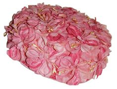 60s Pillbox Hat Pink Floral Pearls by MadgesHatBox on Etsy, $32.00