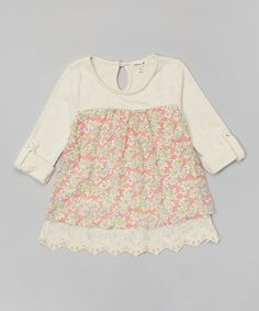 Look at this Monteau Girl Oatmeal Floral & Lace Swing Top on #zulily today!