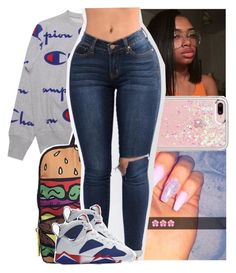 """‼."" by theyknowtyy ❤ liked on Polyvore featuring Champion, Rebecca Minkoff and NIKE"