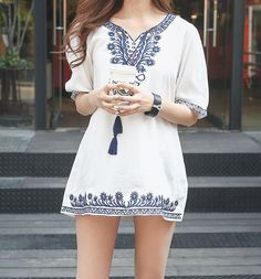 Envy Look - Embroidered Tunic #tunic #embroideredtunic #envylook #petite #fashion #petitefashion