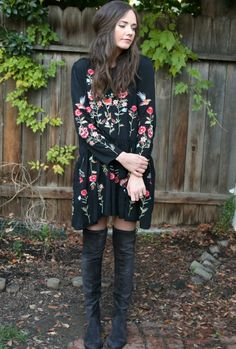 floral dress and over-the-knee boots
