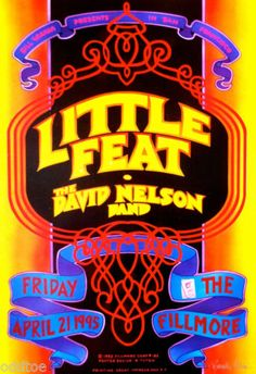 Little Feat Orig Concert Poster Signed by Randy Tuten David Nelson Fillmore | eBay