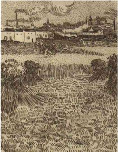 Arles: View from the Wheat Field by Vincent Van Gogh Drawing, pen and ink on paper  Arles: August - 6-8, 1888
