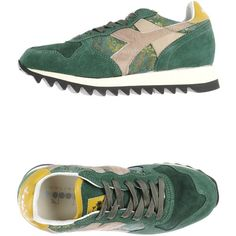 Diadora Heritage Sneakers ($155) ❤ liked on Polyvore featuring shoes, sneakers, green, diadora, diadora sneakers, leather trainers, round toe shoes and leather shoes