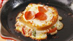Pizza Grilled Cheese {I like when quick satisfacion ideas are posted.. I had to use the cauliflower crust,, but was happy with the idea!.. what a great idea for day old bread as it will be crisier.. Disabledironchef mjb}