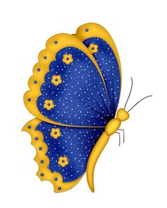 butterfly blue and yellow ✿⊰. Cartoon Butterfly, Butterfly Clip Art, Butterfly Quilt, Butterfly Images, Butterfly Drawing, Butterfly Template, Butterfly Painting, Butterfly Wallpaper, Butterfly Design