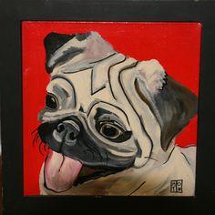"12""12"" framed acrylic painting of pug face. $250 for sale. Custom work available."