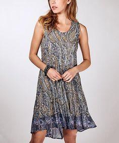 Blue & Gray Paisley Contrast-Hem Dress - Women #zulily #zulilyfinds