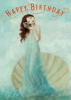 Happy Birthday Blue Shell Fairy Greeting Card by Stephen Mackey Happy Birthday Quotes, Happy Birthday Greetings, Birthday Messages, It's Your Birthday, Happy Birthday Fairy, Fabulous Birthday, Cake Birthday, Birthday Gifts, Birthday Pictures