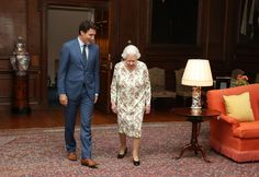 Queen Elizabeth and Canadian Prime Minister Justin Trudeau in deep conversation.