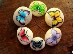 Painted stones .. Incredibly pretty assortment of butterflies!!