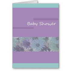 baby shower purple floral greeting cards